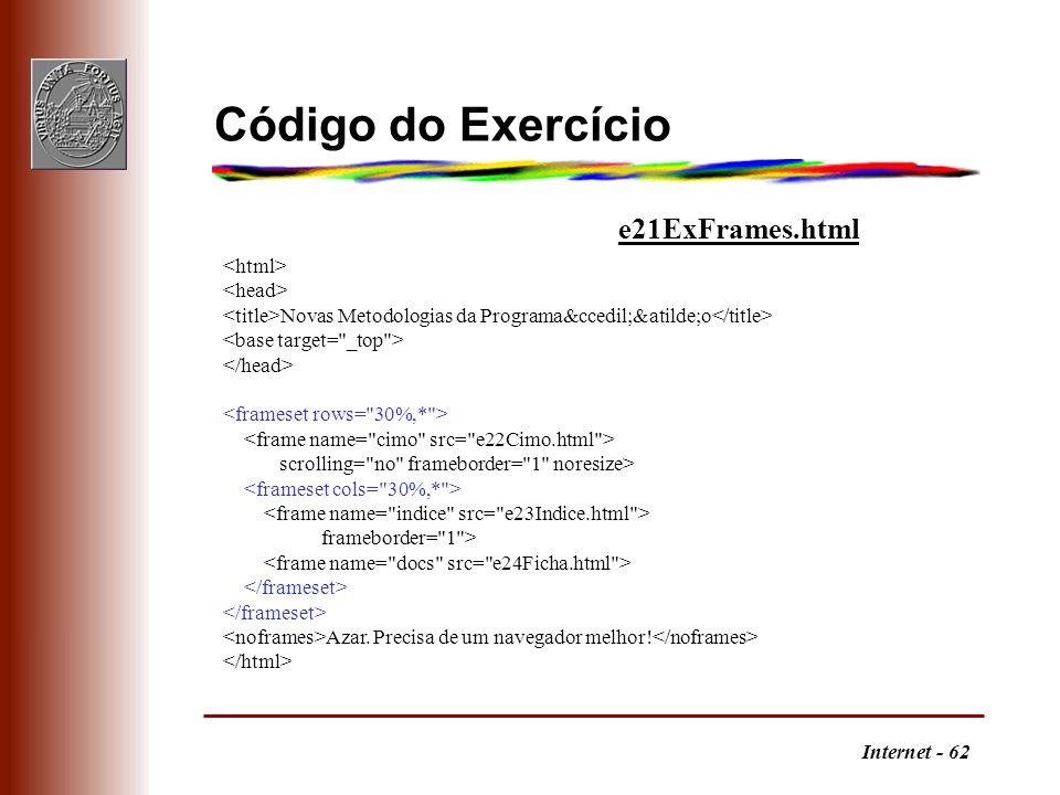 Internet - 62 Código do Exercício Novas Metodologias da Programação scrolling=