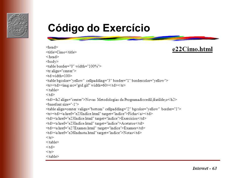 Internet - 63 Código do Exercício Cimo Novas Metodologias da Programação Ficha Exercícios Acetatos Exames Notas e22Cimo.html