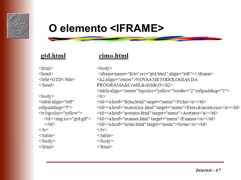 Internet - 67 O elemento GTD gtd.html NOVAS METODOLOGIAS DA PROGRAMAÇÃO Ficha Exercícios Acetatos Exames Notas cimo.html