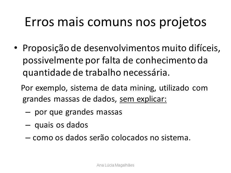 Erros mais comuns nos projetos Proposição de desenvolvimentos muito difíceis, possivelmente por falta de conhecimento da quantidade de trabalho necess