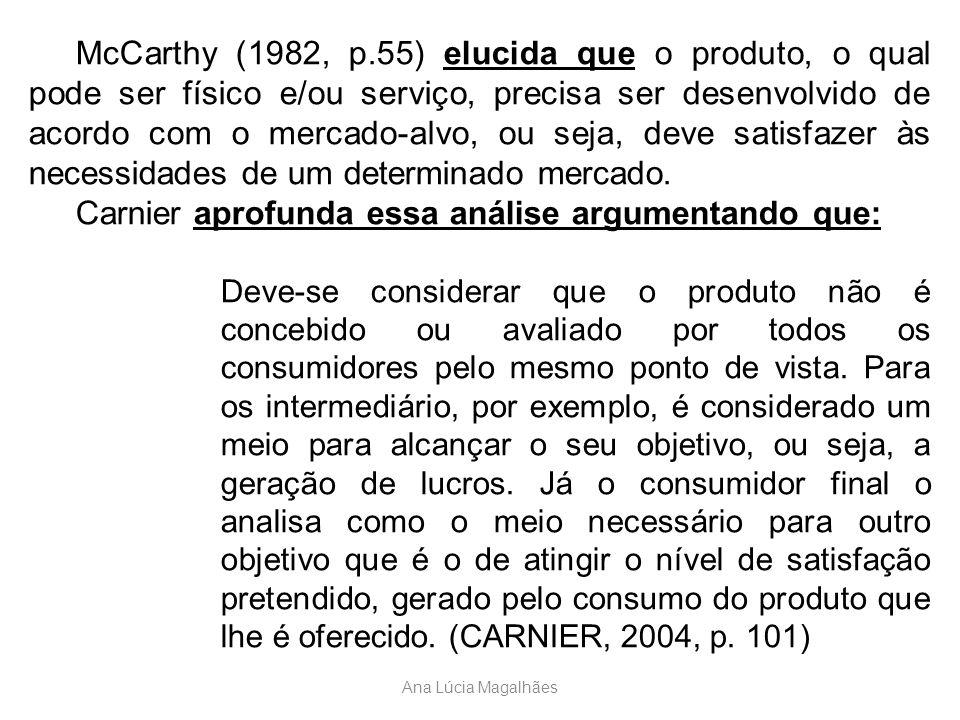Ana Lúcia Magalhães McCarthy (1982, p.55) elucida que o produto, o qual pode ser físico e/ou serviço, precisa ser desenvolvido de acordo com o mercado