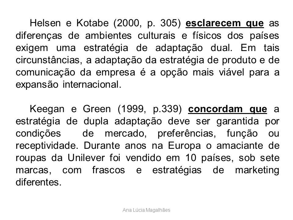 Ana Lúcia Magalhães Helsen e Kotabe (2000, p. 305) esclarecem que as diferenças de ambientes culturais e físicos dos países exigem uma estratégia de a