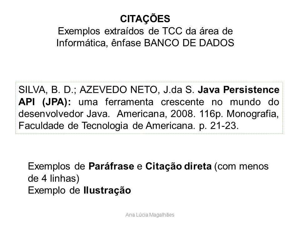 Ana Lúcia Magalhães CITAÇÕES Exemplos extraídos de TCC da área de Informática, ênfase BANCO DE DADOS SILVA, B. D.; AZEVEDO NETO, J.da S. Java Persiste