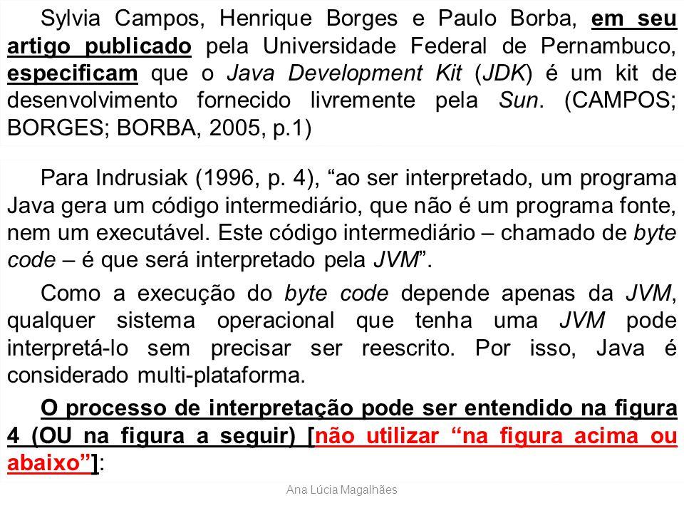 """Ana Lúcia Magalhães Para Indrusiak (1996, p. 4), """"ao ser interpretado, um programa Java gera um código intermediário, que não é um programa fonte, nem"""