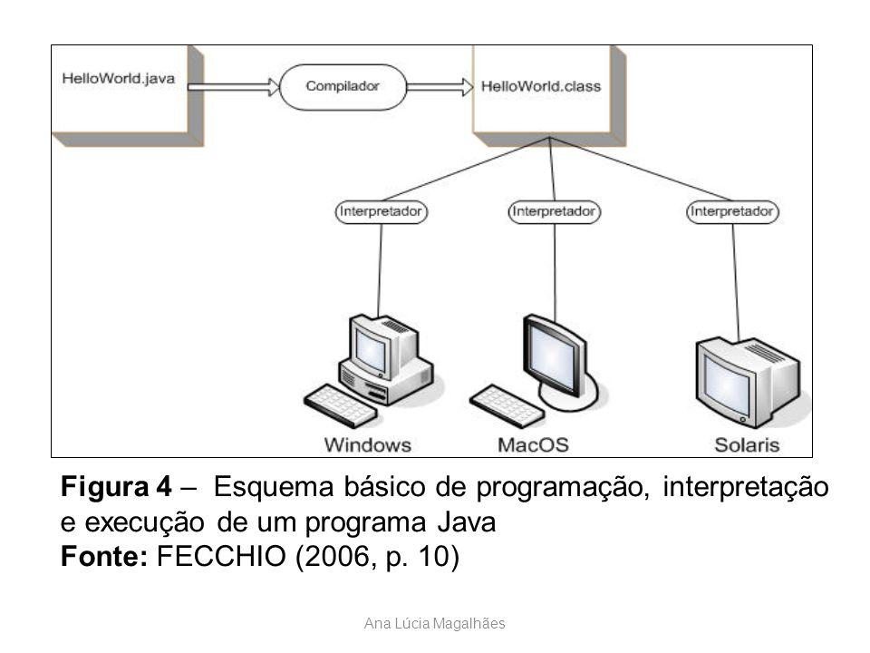 Ana Lúcia Magalhães Figura 4 – Esquema básico de programação, interpretação e execução de um programa Java Fonte: FECCHIO (2006, p. 10)