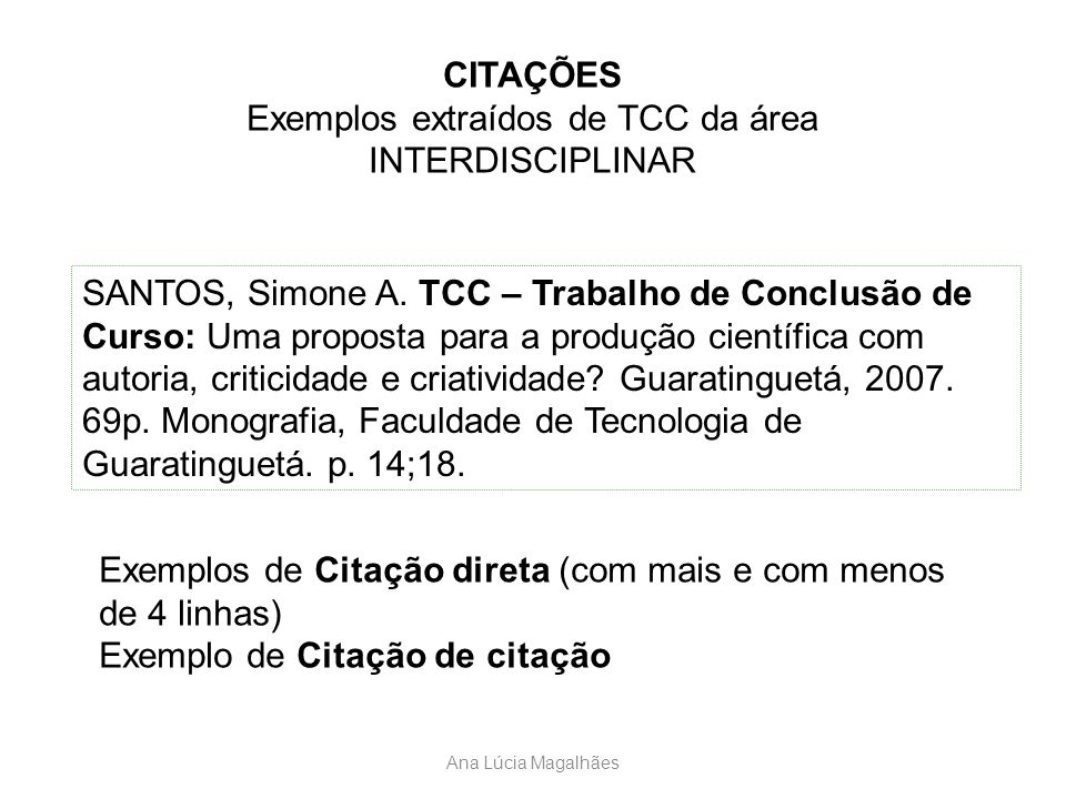 Ana Lúcia Magalhães CITAÇÕES Exemplos extraídos de TCC da área INTERDISCIPLINAR SANTOS, Simone A. TCC – Trabalho de Conclusão de Curso: Uma proposta p
