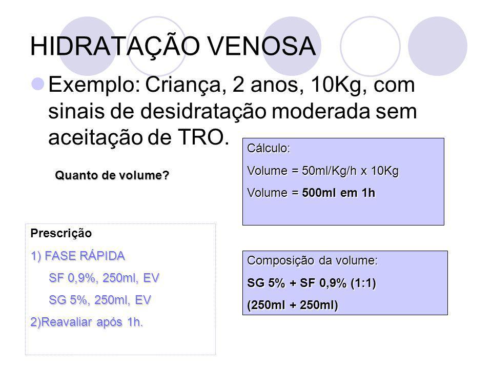 HIDRATAÇÃO VENOSA Exemplo 2: Peso 15kg Volume: 1000ml Até 10Kg = 1000ml 250ml De 10 a 15 = 5 x 50 = 250ml 1250ml = 3 etapas de 420ml Volume = 1250ml = 3 etapas de 420ml Sódio(3mEq/100ml): 12,6mEq 3,7ml de NaCl 20% 3 x 4,2 = 12,6mEq = 3,7ml de NaCl 20% 3,4 3,7ml de NaCl 20% Sódio = 3,7ml de NaCl 20% Potássio(2mEq/100ml): 6,3 ml de KCl 10% 2 x 4,2 = 8,4 mEq = 6,3 ml de KCl 10% 1,34 6,3ml de KCl 10% Potássio = 6,3ml de KCl 10% Prescrição: 1) Hidratação venosa (3 etapas): SG 5%, 420ml NaCl 20%, 3,7ml KCl 10%, 6,3 ml 53mcgt/min=53ml/h 420+3,7+6,3 = 430ml = 53mcgt/min 8
