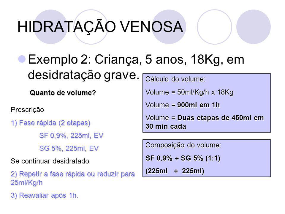 HIDRATAÇÃO VENOSA Exemplo 2: Criança, 5 anos, 18Kg, em desidratação grave.
