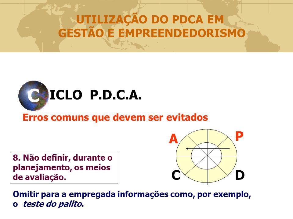 ICLO P.D.C.A.CVCV Erros comuns que devem ser evitados P DC A 8.