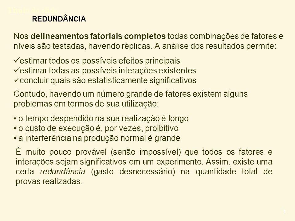 Título do slide 23 Delineamento fatorial 2 k-1 Exemplo: Micróbios (mantidos 1, 4, 6, 7, 10, 11, 13, 16) Confundimentoestimativas A = BCD -0,025 B = ACD -2,99 C = ABD 2,45 D = ABC -0,01 AB = CD -0,48 AC = BD 0,365 AD = BC -3,15 PPN  (ordenados) Confundimentoestimativas P Conclusão.