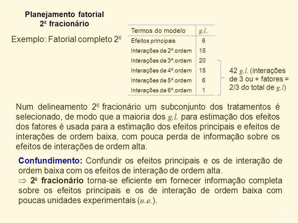 Título do slide 5 Exemplo: Micróbios (conceito de confundimento) Lembrar que: Experimento completo  2 4  1 r é plica: 16 u.e.