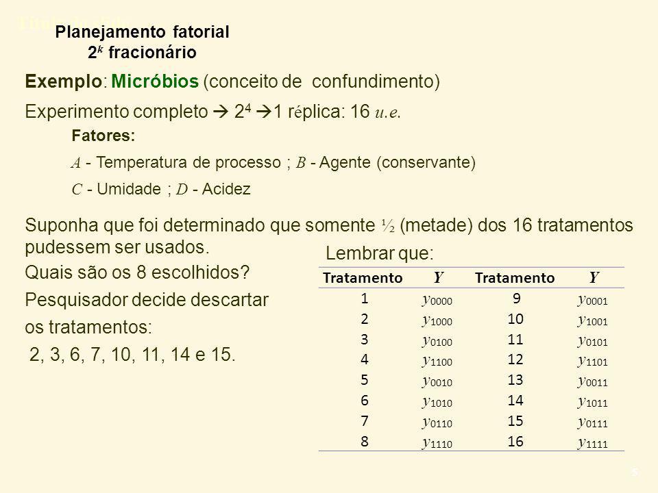 Título do slide 16 Delineamento fatorial 2 k-1 Delineamentos em fração ½ 1)Definir o gerador de confundimento (relação de definição) 2)Definir o esquema de confundimento 3)O planejamento fatorial correspondente é construído: a) Construir a tabela de contraste para o plano com todos os fatores e interações.