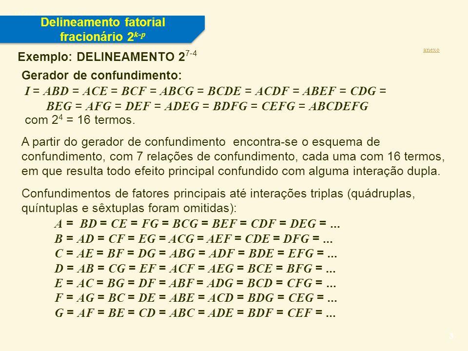 Título do slide 4 Exemplo: DELINEAMENTO 2 7-4 Delineamento fatorial fracionário 2 k-p anexo OBSERVAÇÕES IMPORTANTES: 1.A resolução deste delineamento é III.
