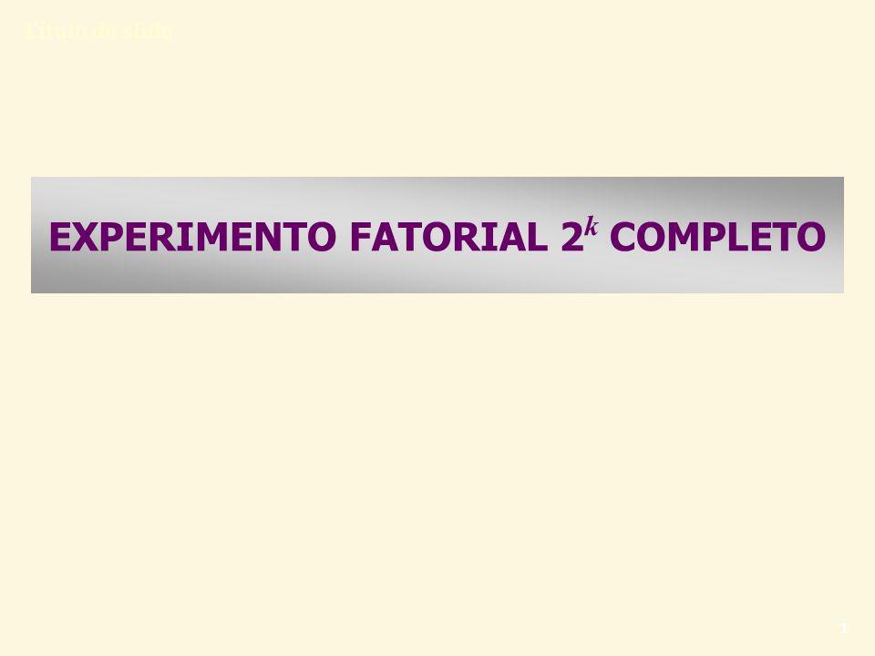 Título do slide 12 EXPERIMENTOS FATORIAIS 2 k EXPERIMENTO 2 2 (k = 2 fatores) Considere, por exemplo, dois fatores, com repetição (3 réplicas): Como determinar a significância estatística de um fator nos planejamentos fatoriais 2 k .
