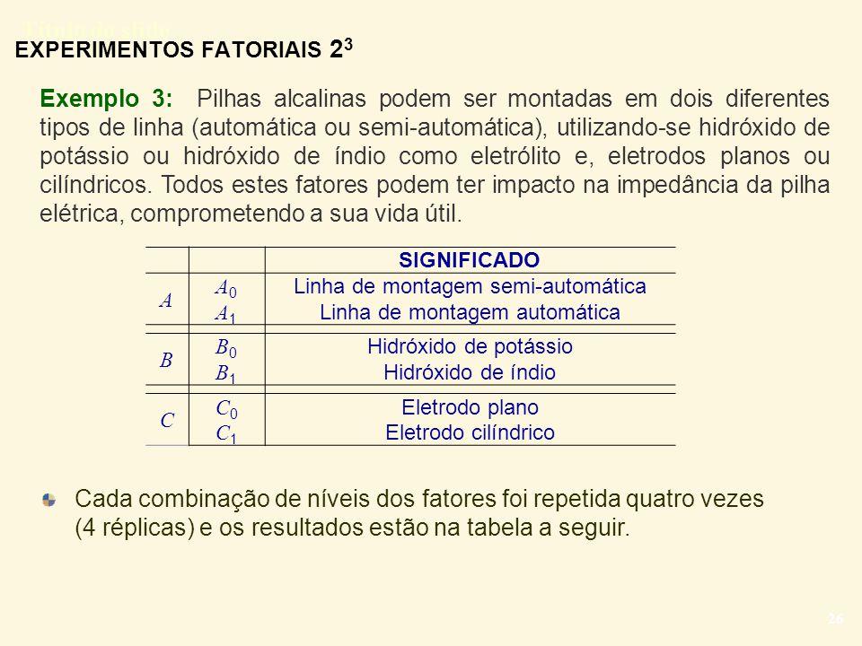 Título do slide 26 Exemplo 3: Pilhas alcalinas podem ser montadas em dois diferentes tipos de linha (automática ou semi-automática), utilizando-se hid