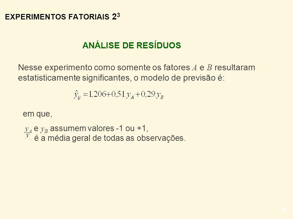 Título do slide 30 EXPERIMENTOS FATORIAIS 2 3 Nesse experimento como somente os fatores A e B resultaram estatisticamente significantes, o modelo de p
