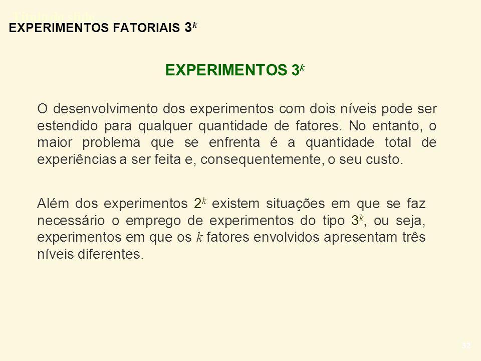 Título do slide 32 EXPERIMENTOS FATORIAIS 3 k EXPERIMENTOS 3 k O desenvolvimento dos experimentos com dois níveis pode ser estendido para qualquer qua
