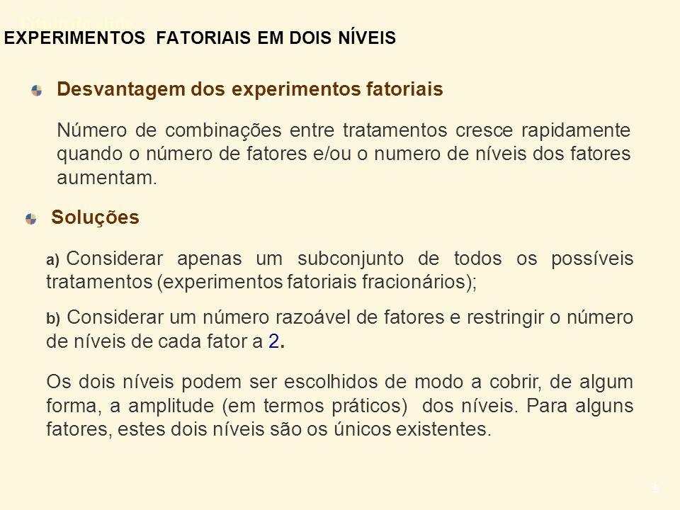 Título do slide 5 EXPERIMENTOS FATORIAIS EM DOIS NÍVEIS Desvantagem dos experimentos fatoriais Número de combinações entre tratamentos cresce rapidame
