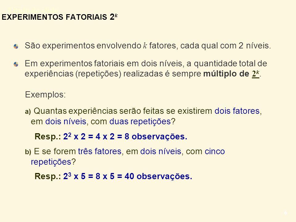 Título do slide 27 EXPERIMENTOS FATORIAIS 2 3 ou, equivalentemente, pela tabela: A0A0 A1A1 B0B0 B1B1 B0B0 B1B1 C0C0 C1C1 C0C0 C1C1 C0C0 C1C1 C0C0 C1C1 -0,11,10,60,70,61,91,82,1 1,00,51,0-0,10,80,72,12,3 0,60,10,81,70,72,32,21,9 -0,10,71,51,22,01,9 2,2 A0A0 A1A1 B0B0 B1B1 B0B0 B1B1 C0C0 (1) -0,1 1,0 0,6 -0,1 (3) 0,6 1,0 0,8 1,5 (2) 0,6 0,8 0,7 2,0 (4) 1,8 2,1 2,2 1,9 C1C1 (5) 1,1 0,5 0,1 0,7 (7) 0,7 -0,1 1,7 1,2 (6) 1,9 0,7 2,3 1,9 (8) 2,1 2,3 1,9 2,2