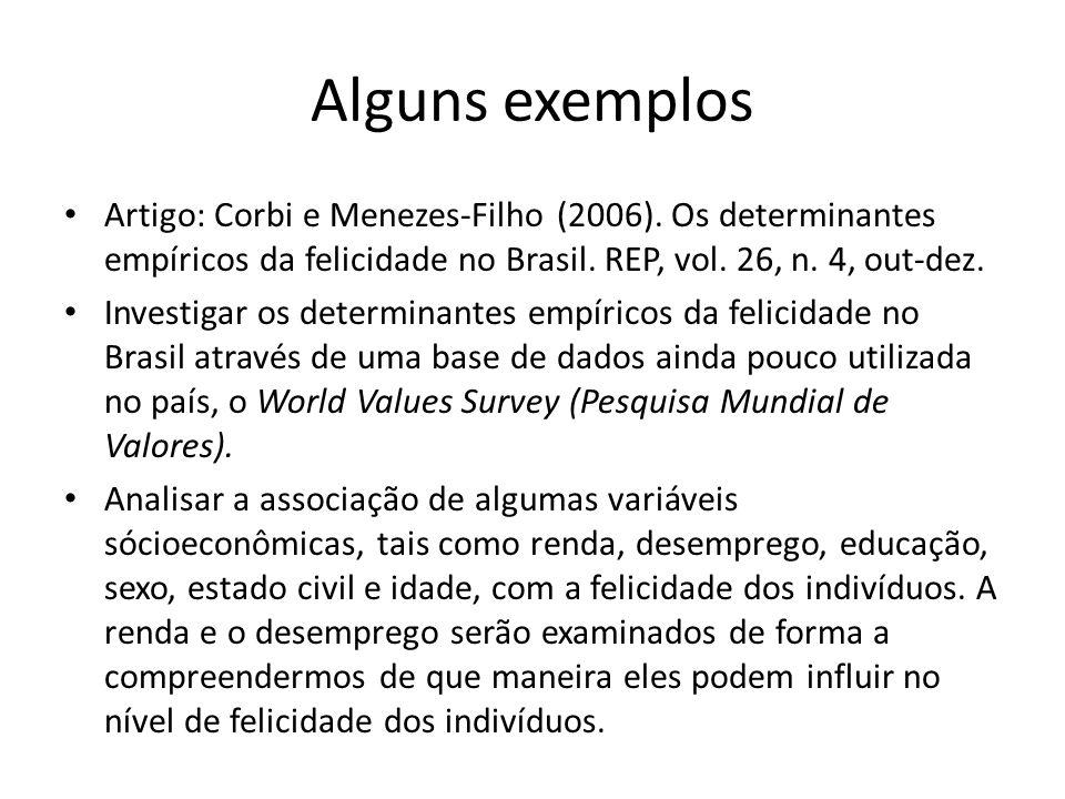Alguns exemplos Artigo: Corbi e Menezes-Filho (2006).