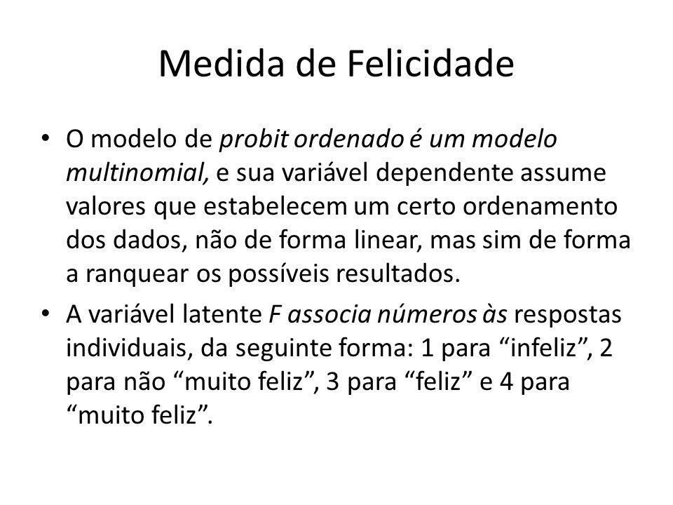 Medida de Felicidade O modelo de probit ordenado é um modelo multinomial, e sua variável dependente assume valores que estabelecem um certo ordenamento dos dados, não de forma linear, mas sim de forma a ranquear os possíveis resultados.