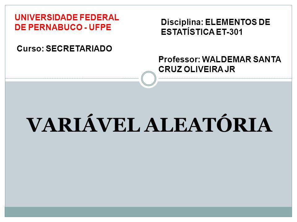 VARIÁVEL ALEATÓRIA Professor: WALDEMAR SANTA CRUZ OLIVEIRA JR UNIVERSIDADE FEDERAL DE PERNABUCO - UFPE Curso: SECRETARIADO Disciplina: ELEMENTOS DE ESTATÍSTICA ET-301