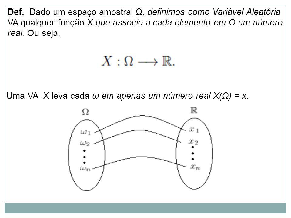 Def. Dado um espaço amostral Ω, definimos como Variável Aleatória VA qualquer função X que associe a cada elemento em Ω um número real. Ou seja, Uma V