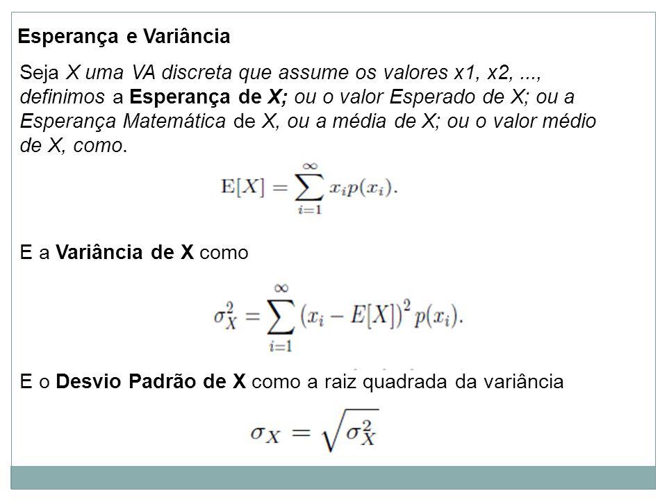 Esperança e Variância Seja X uma VA discreta que assume os valores x1, x2,..., definimos a Esperança de X; ou o valor Esperado de X; ou a Esperança Ma