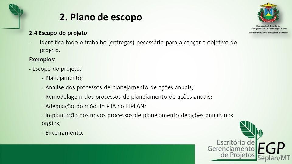 2. Plano de escopo 2.4 Escopo do projeto -Identifica todo o trabalho (entregas) necessário para alcançar o objetivo do projeto. Exemplos: - Escopo do