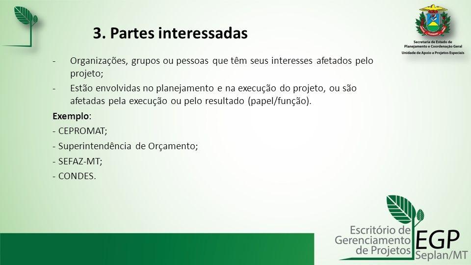 3. Partes interessadas -Organizações, grupos ou pessoas que têm seus interesses afetados pelo projeto; -Estão envolvidas no planejamento e na execução