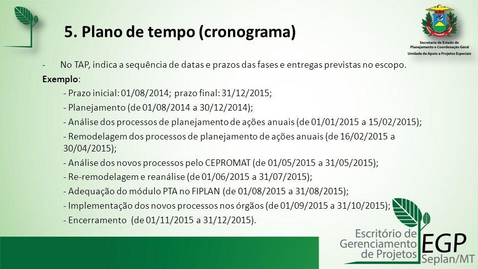 5. Plano de tempo (cronograma) -No TAP, indica a sequência de datas e prazos das fases e entregas previstas no escopo. Exemplo: - Prazo inicial: 01/08