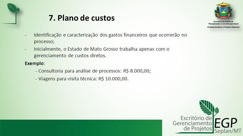 7. Plano de custos -Identificação e caracterização dos gastos financeiros que ocorrerão no processo; -Inicialmente, o Estado de Mato Grosso trabalha a