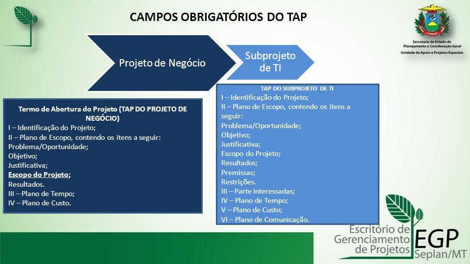 Projeto de Negócio Subprojeto de TI Termo de Abertura do Projeto (TAP DO PROJETO DE NEGÓCIO) I – Identificação do Projeto; II – Plano de Escopo, conte