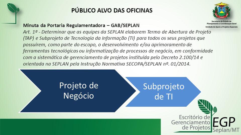 Projeto de Negócio Subprojeto de TI PÚBLICO ALVO DAS OFICINAS Minuta da Portaria Regulamentadora – GAB/SEPLAN Art. 1º - Determinar que as equipes da S
