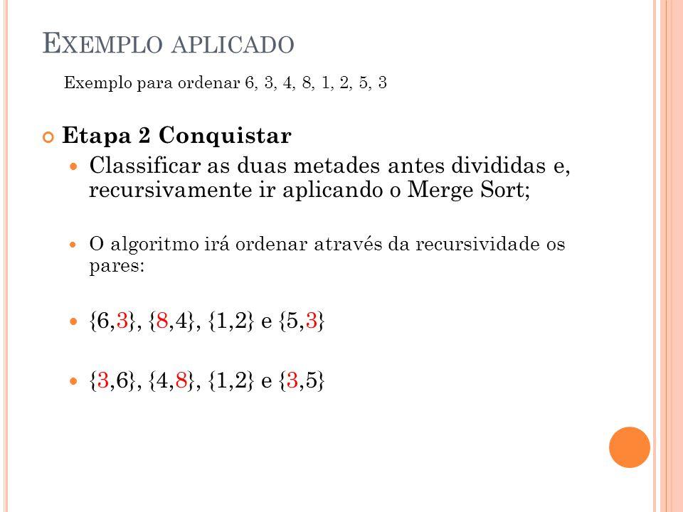 E XEMPLO APLICADO Etapa 2 Conquistar Classificar as duas metades antes divididas e, recursivamente ir aplicando o Merge Sort; O algoritmo irá ordenar através da recursividade os pares: {6,3}, {8,4}, {1,2} e {5,3} {3,6}, {4,8}, {1,2} e {3,5} Exemplo para ordenar 6, 3, 4, 8, 1, 2, 5, 3