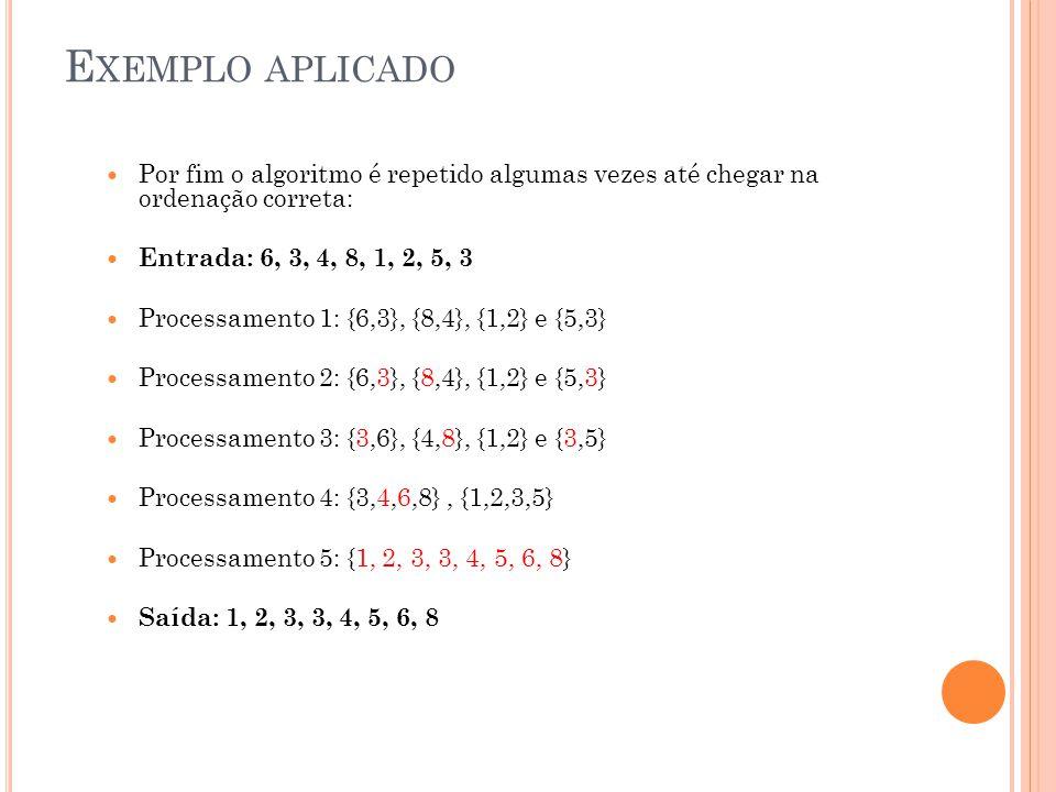 E XEMPLO APLICADO Por fim o algoritmo é repetido algumas vezes até chegar na ordenação correta: Entrada: 6, 3, 4, 8, 1, 2, 5, 3 Processamento 1: {6,3}, {8,4}, {1,2} e {5,3} Processamento 2: {6,3}, {8,4}, {1,2} e {5,3} Processamento 3: {3,6}, {4,8}, {1,2} e {3,5} Processamento 4: {3,4,6,8}, {1,2,3,5} Processamento 5: {1, 2, 3, 3, 4, 5, 6, 8} Saída: 1, 2, 3, 3, 4, 5, 6, 8