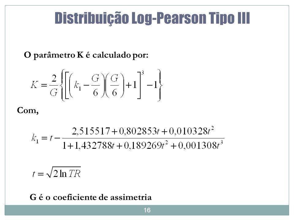 16 Distribuição Log-Pearson Tipo III O parâmetro K é calculado por: Com, G é o coeficiente de assimetria