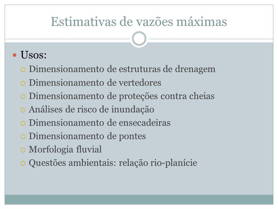Estimativas de vazões máximas Usos:  Dimensionamento de estruturas de drenagem  Dimensionamento de vertedores  Dimensionamento de proteções contra