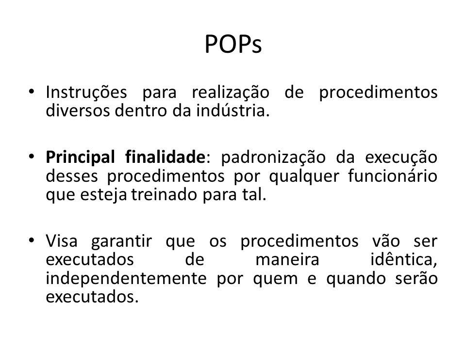 POPs Instruções para realização de procedimentos diversos dentro da indústria. Principal finalidade: padronização da execução desses procedimentos por