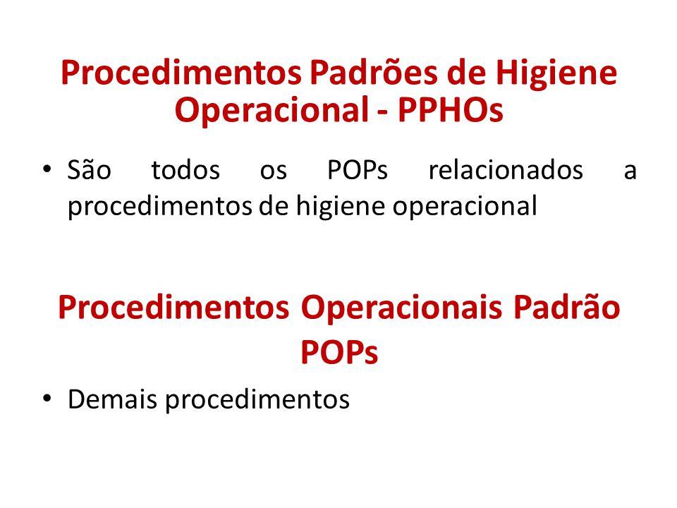 Procedimentos Operacionais Padrão POPs Demais procedimentos Procedimentos Padrões de Higiene Operacional - PPHOs São todos os POPs relacionados a proc