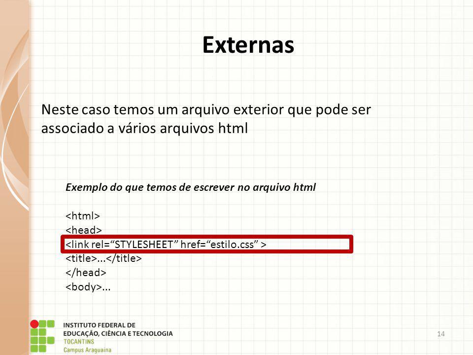 14 Externas Neste caso temos um arquivo exterior que pode ser associado a vários arquivos html Exemplo do que temos de escrever no arquivo html......