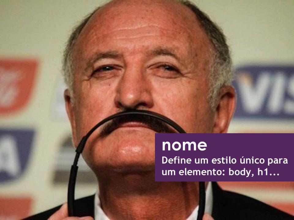 nome Define um estilo único para um elemento: body, h1...
