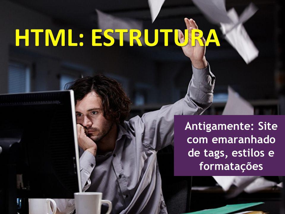 Antigamente: Site com emaranhado de tags, estilos e formatações HTML: ESTRUTURA