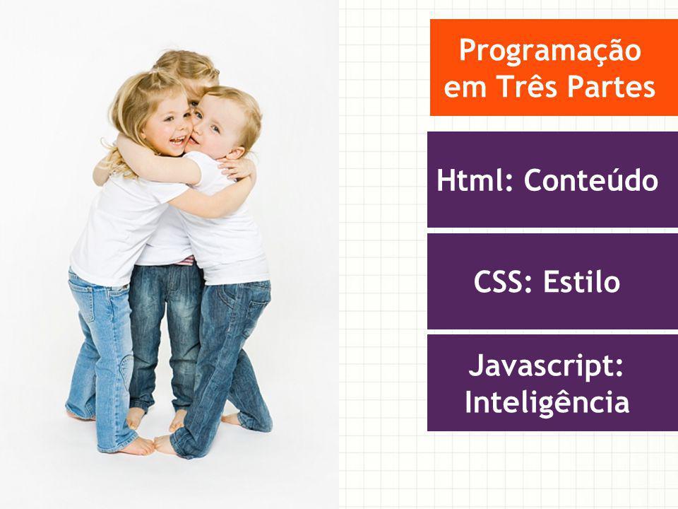 Programação em Três Partes Html: Conteúdo CSS: Estilo Javascript: Inteligência