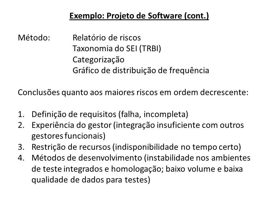 Exemplo: Projeto de Software (cont.) Método: Relatório de riscos Taxonomia do SEI (TRBI) Categorização Gráfico de distribuição de frequência Conclusões quanto aos maiores riscos em ordem decrescente: 1.Definição de requisitos (falha, incompleta) 2.Experiência do gestor (integração insuficiente com outros gestores funcionais) 3.Restrição de recursos (indisponibilidade no tempo certo) 4.Métodos de desenvolvimento (instabilidade nos ambientes de teste integrados e homologação; baixo volume e baixa qualidade de dados para testes)