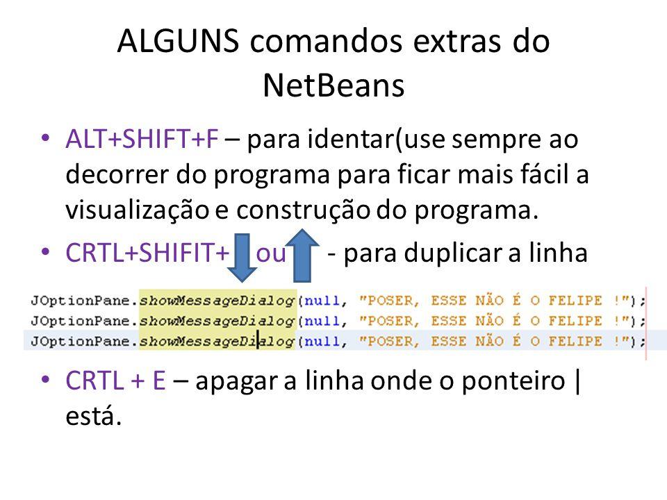 ALGUNS comandos extras do NetBeans ALT+SHIFT+F – para identar(use sempre ao decorrer do programa para ficar mais fácil a visualização e construção do