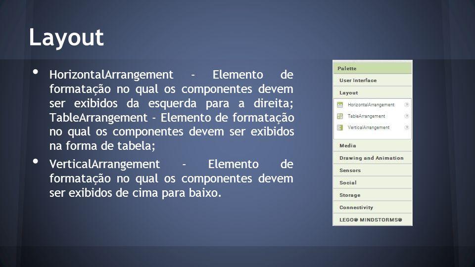 Layout HorizontalArrangement - Elemento de formatação no qual os componentes devem ser exibidos da esquerda para a direita; TableArrangement - Elemento de formatação no qual os componentes devem ser exibidos na forma de tabela; VerticalArrangement - Elemento de formatação no qual os componentes devem ser exibidos de cima para baixo.