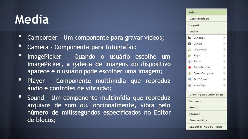 Media Camcorder - Um componente para gravar vídeos; Camera - Componente para fotografar; ImagePicker - Quando o usuário escolhe um ImagePicker, a galeria de imagens do dispositivo aparece e o usuário pode escolher uma imagem; Player - Componente multimídia que reproduz áudio e controles de vibração; Sound - Um componente multimídia que reproduz arquivos de som ou, opcionalmente, vibra pelo número de milissegundos especificados no Editor de blocos;