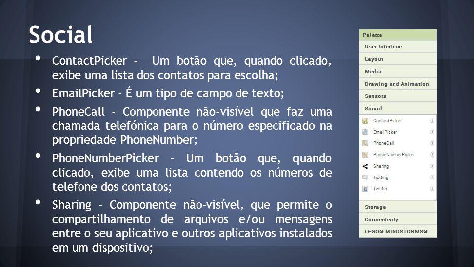 Social ContactPicker - Um botão que, quando clicado, exibe uma lista dos contatos para escolha; EmailPicker - É um tipo de campo de texto; PhoneCall -