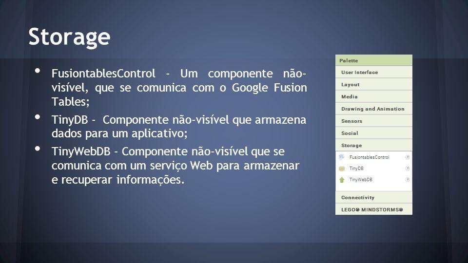 Storage FusiontablesControl - Um componente não- visível, que se comunica com o Google Fusion Tables; TinyDB - Componente não-visível que armazena dados para um aplicativo; TinyWebDB - Componente não-visível que se comunica com um serviço Web para armazenar e recuperar informações.